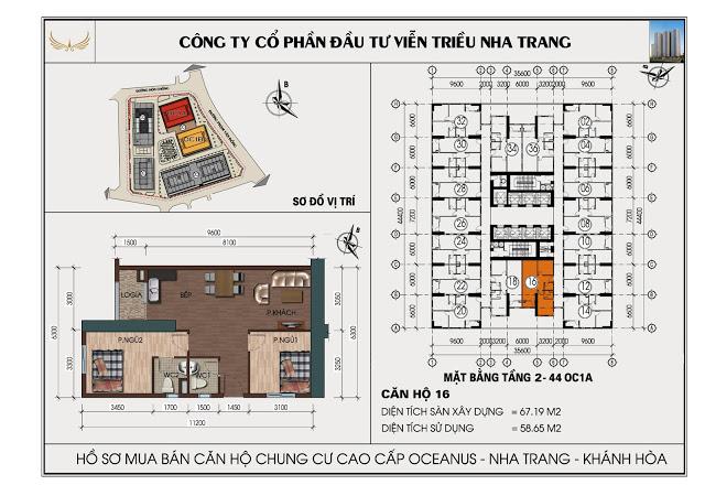 Sơ đồ căn hộ số 16 tòa OC1A Viễn Triều Nha Trang