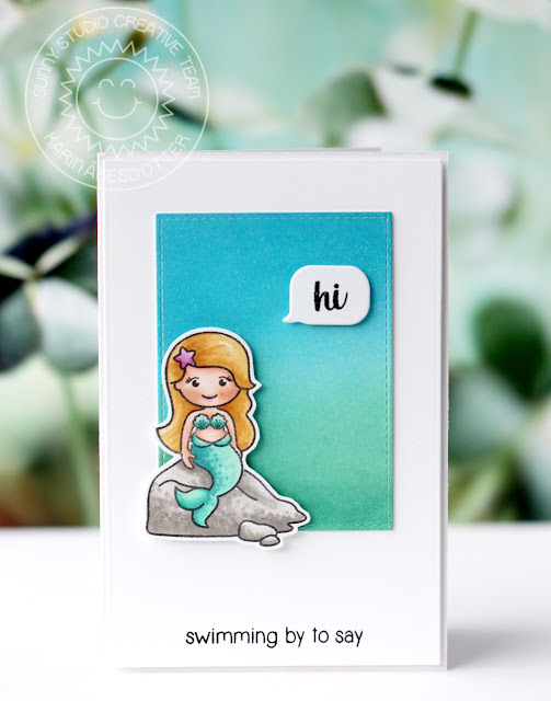 Sunny Studio Stamps: Magical Mermaids Summery Hello Card by Karin Akesdotter