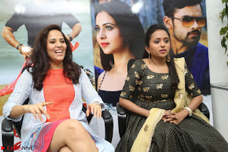 Actress Suma in Black Salwar Suit and Anusuya in orange Dress at winner movie press meet part 2 February 2017 (16).JPG