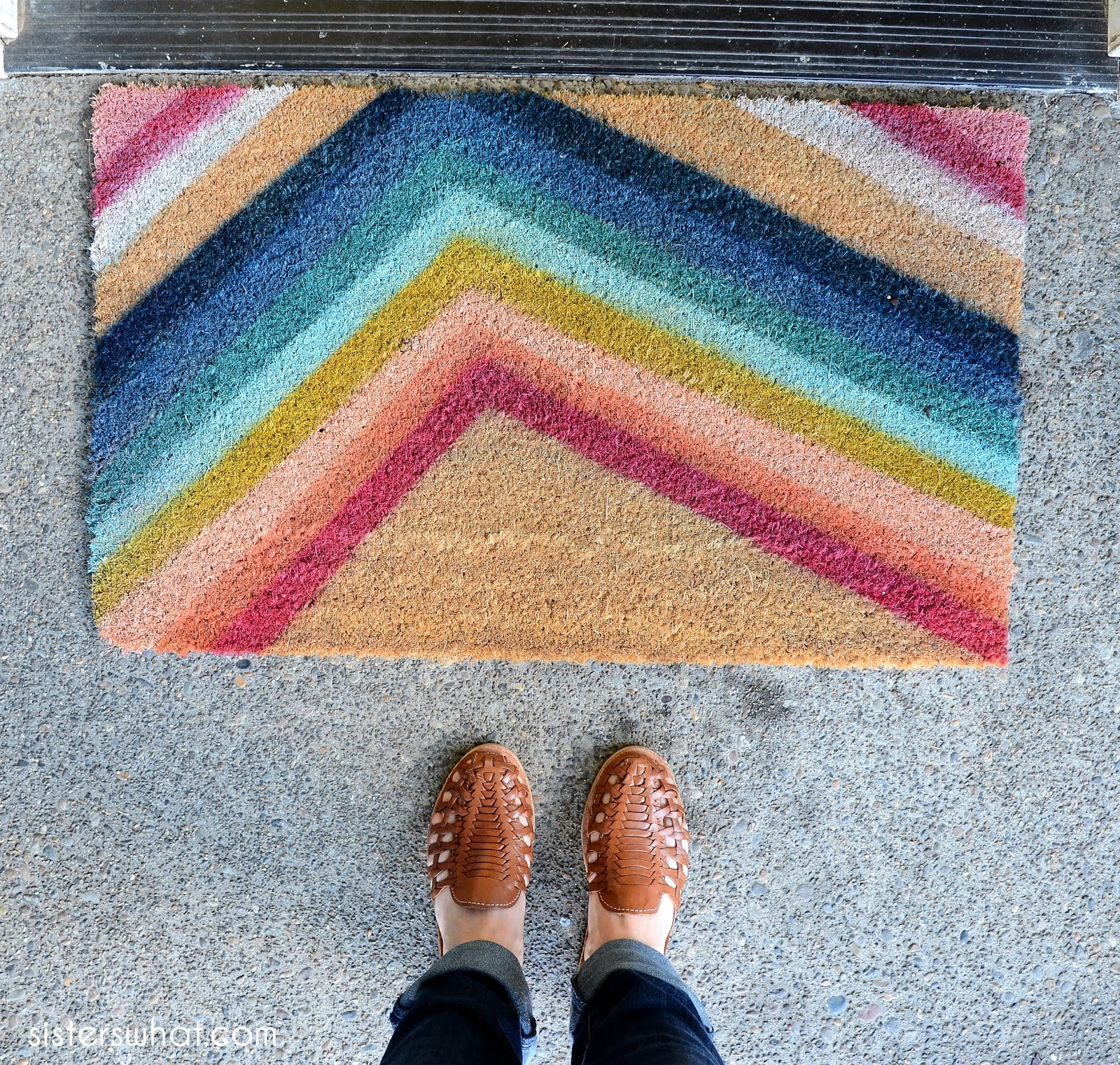 DIY welcome mat with spray paint