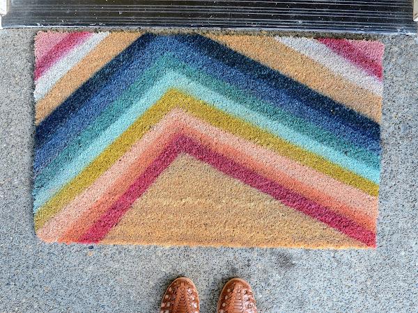 DIY Colorful Striped Door mat