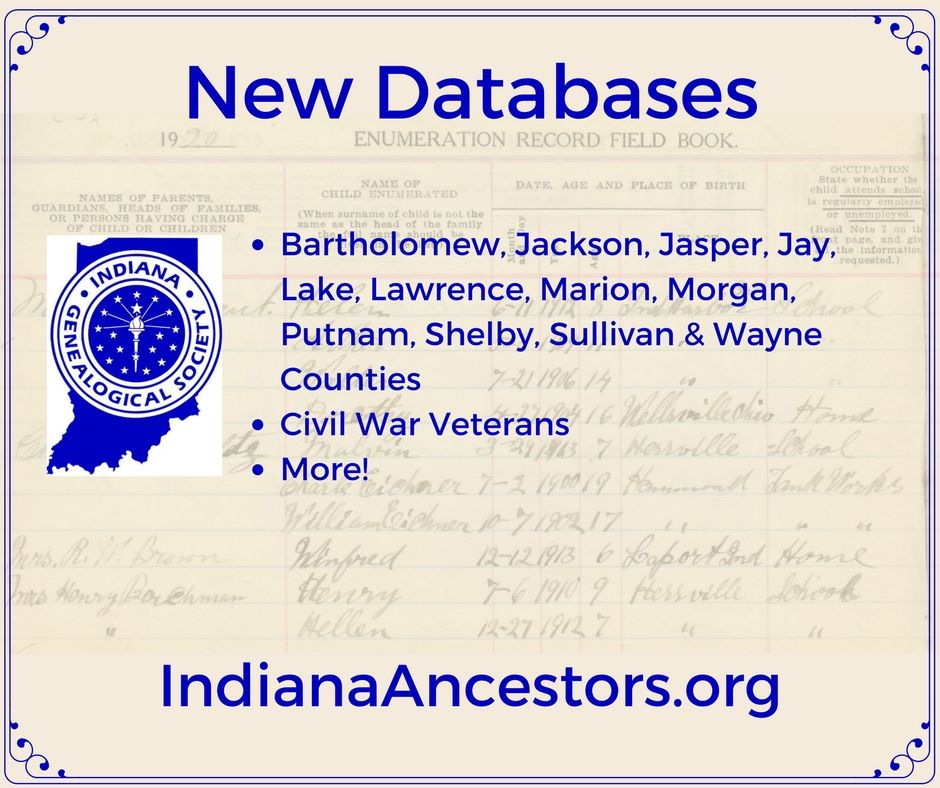Indiana Genealogical Society Blog 2017