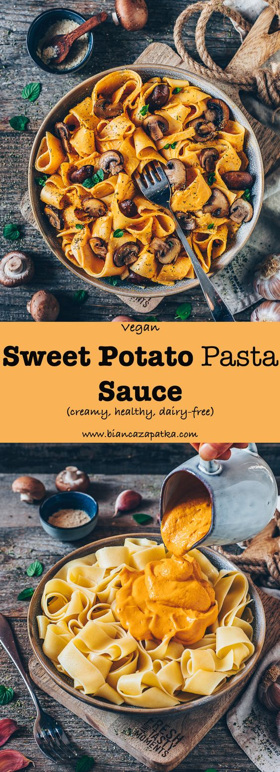 Vegan Sweet Potato Pasta Sauce (creamy, cheesy)