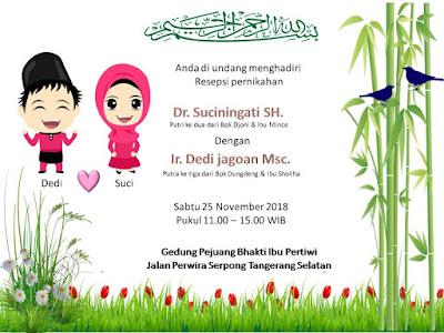 Template undangan pernikahan desain unik menggemaskan