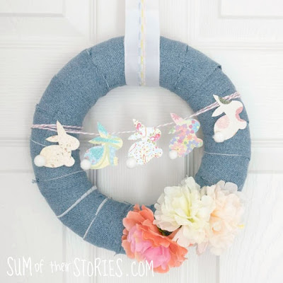 Easter Wreath using upcyled jeans