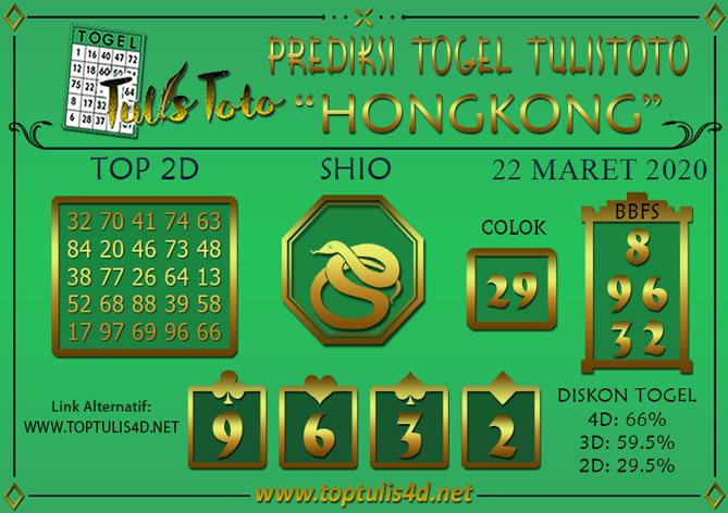 Prediksi Togel HONGKONG TULISTOTO 22 MARET 2020