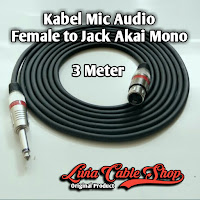 Kabel Mic XLR Audio Female To Jack Akai Mono Canon Canare 3 Meter