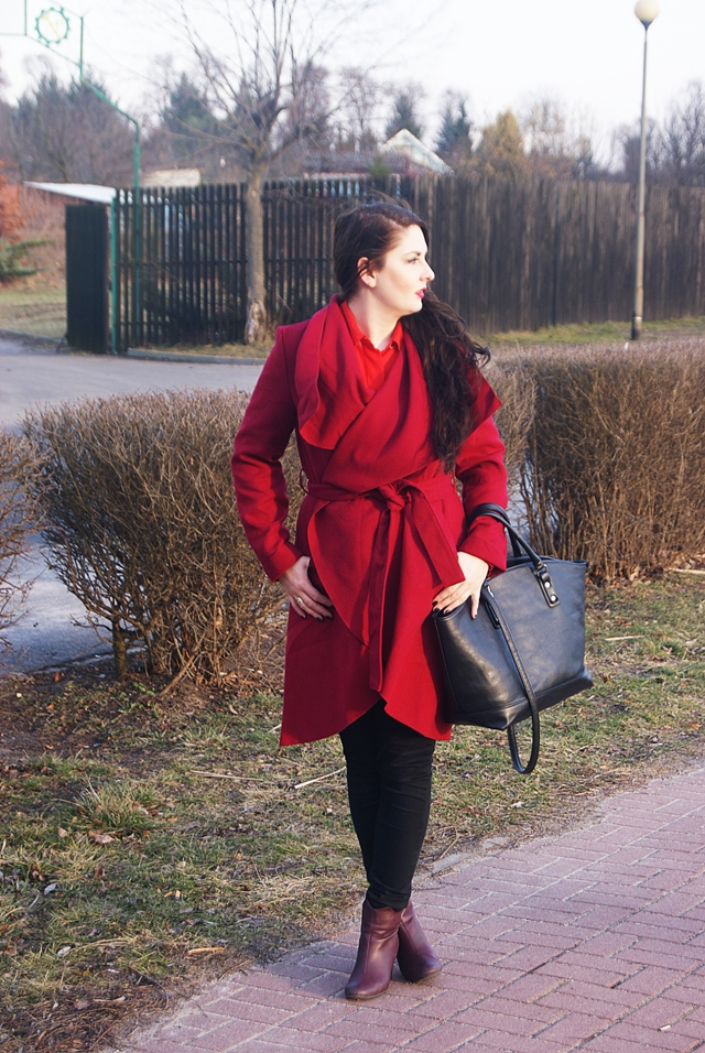Burgundy Long Sleeve Lapel Ruffle Coat SHEIN płaszcz szlafrok bordo