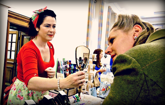 Trying on jewellery at lou lou's vintage fair, Cardiff | ACupofT