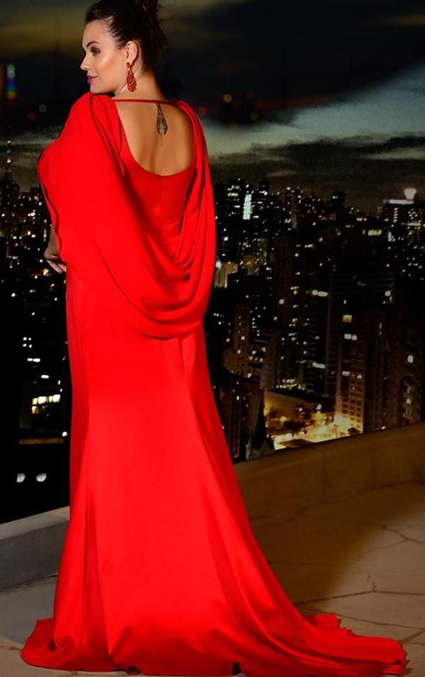 vestido de festa vermelho plus size