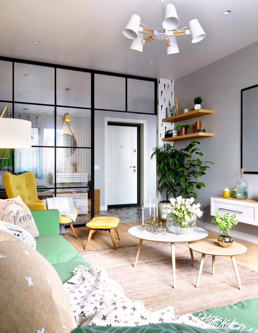 Stylowa aranżacja mieszkania z kolorowymi detalami - wystrój wnętrz, wnętrza, urządzanie mieszkania, dom, home decor, dekoracje, aranżacja wnętrz, minty inspirations, styl skandynawski, nowoczesne wnętrze, naturalne drewno, kolorowe akcenty, geometryczne wzory, stylowe wnętrze, salon, pokój dzienny, living room, zielona sofa, kanapa, fotel z podnóżkiem, szary salon, szklana ściana