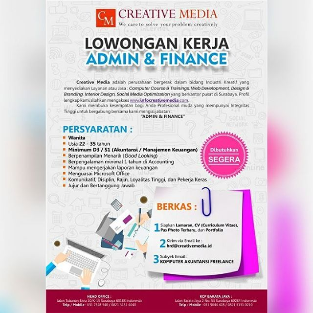 Job Recruitment Admin Dan Finance Creative Media