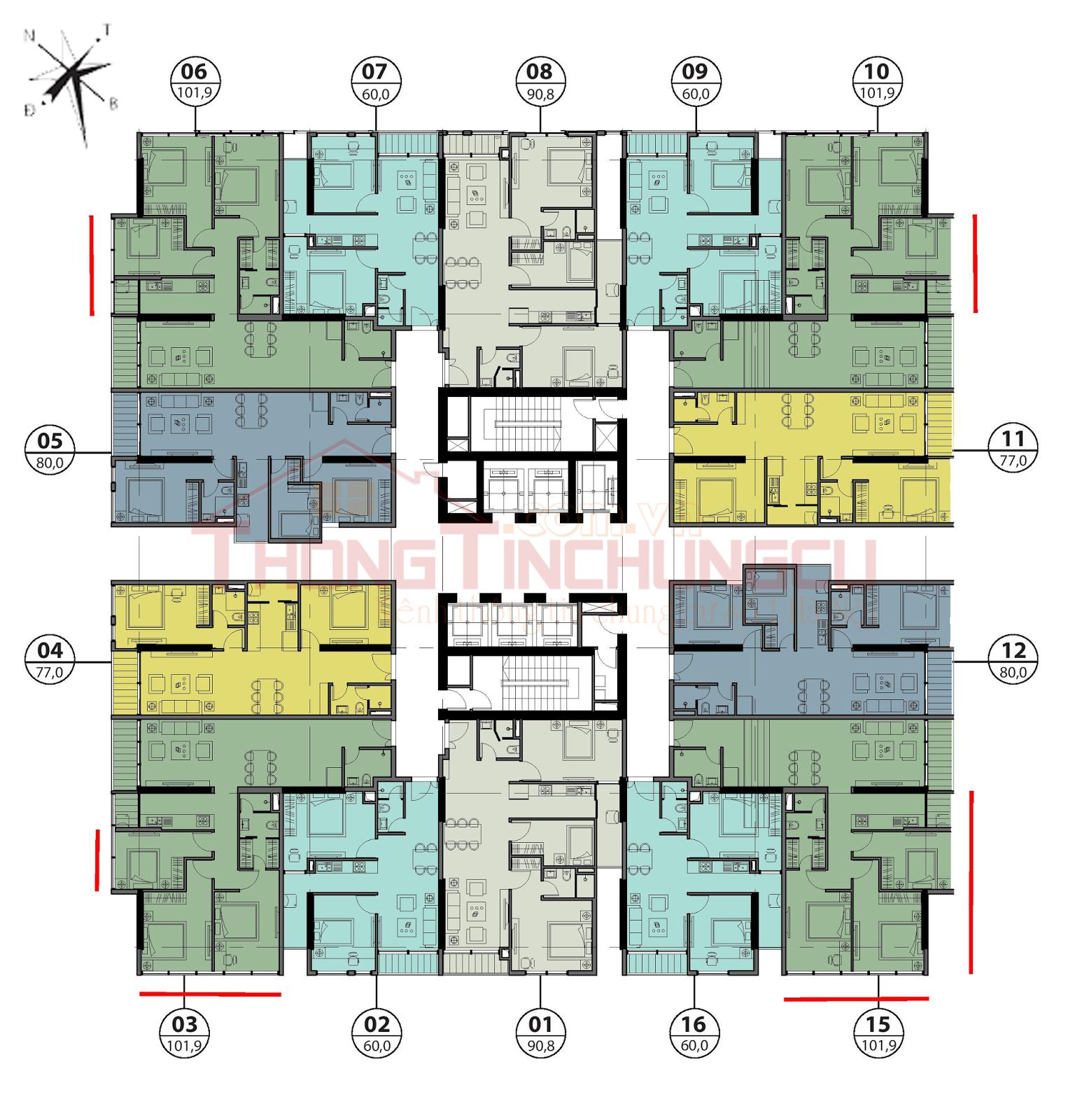 Mặt bằng điển hình tầng 12, 14, 24-26 - Tòa Autumn GoldSeason