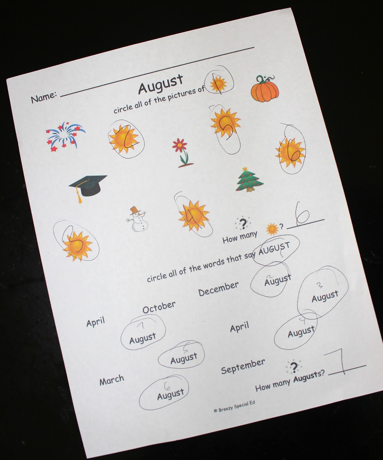 Visual Color Coded Calendars For Students With Special