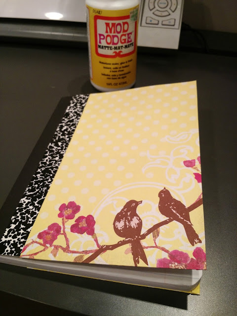 Mod Podge Notebook--A quick, easy and cute way to update a boring composition notebook!