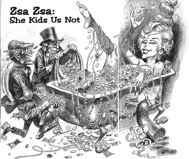 a Jack Davis caricature of Zsa Zsa Gabor for MAD
