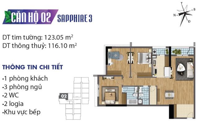 Thiết kế căn hộ số 2 tòa Sapphire 3