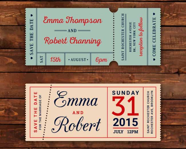 Retro wedding tickets download
