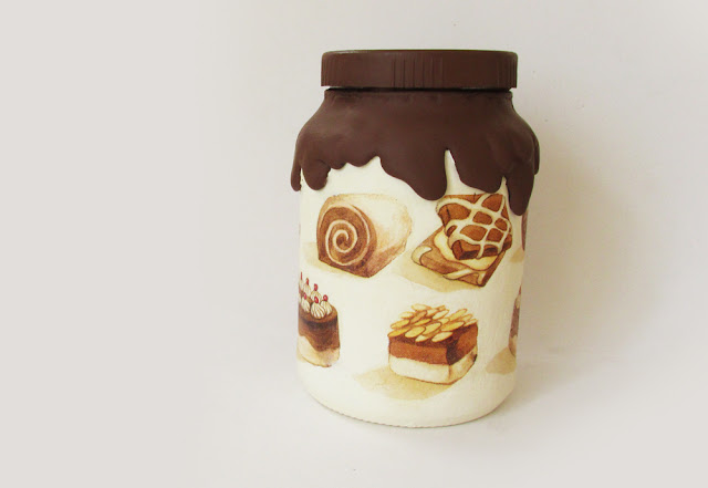 DIY: Como Fazer Pote de Vidro Decorado Reciclado - Calda de Chocolate com cola Quente - pote doces