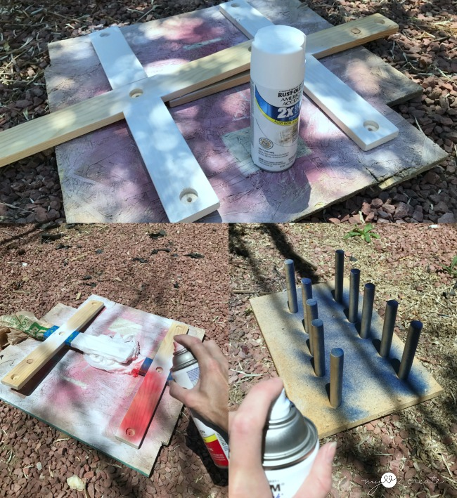 spray painting ring toss game