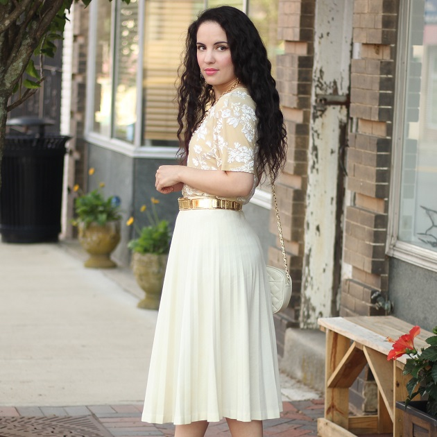 Cream Blouse and Skirt