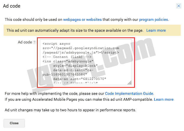 Cara Ambil Kode Iklan Teks AdSense