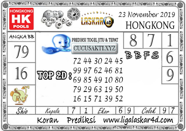 Prediksi Togel HONGKONG LASKAR4D 23 NOVEMBER 2019