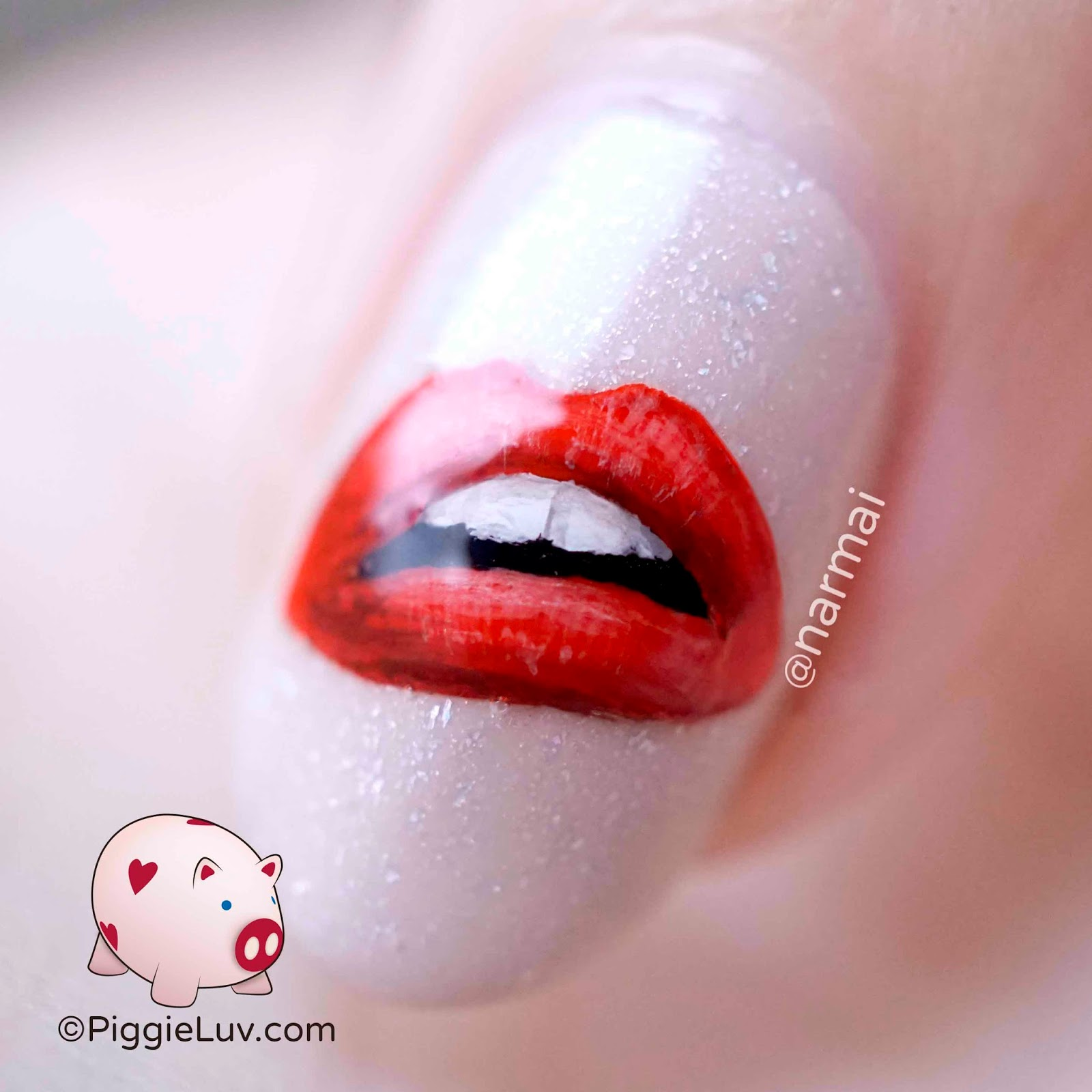 Piggieluv hot lips nail art for valentines day i used ilnp stopping traffic that i got from nailland hungary on all the nails and picture polish cherish on the accent nail the lips are painted with prinsesfo Image collections
