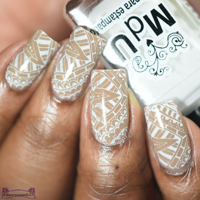 Beige & White Stamping