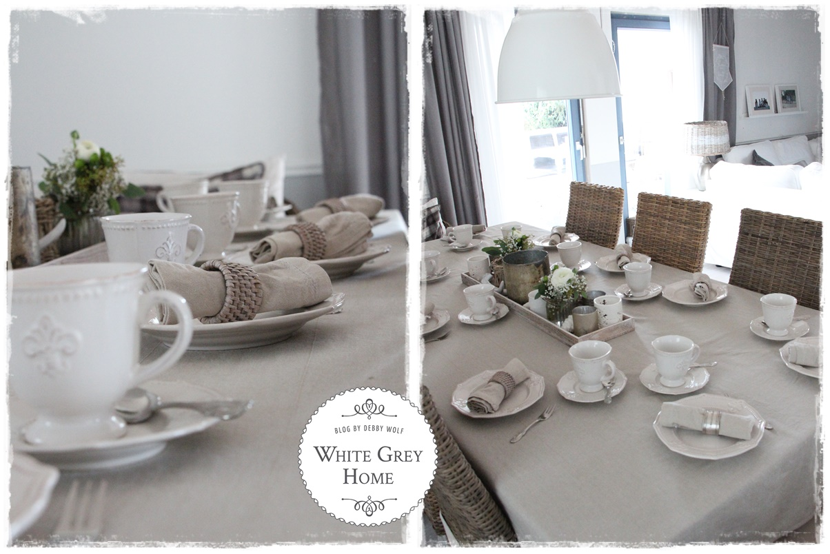 White grey home Tischdeko im januar