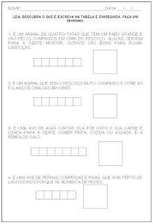 Hipótese de escrita alfabética - Alfabetização - Escreva na tabela e faça um desenho