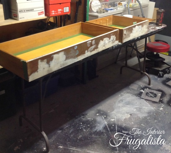 Prepping Art Deco Waterfall Buffet Sideboard Drawers for paint