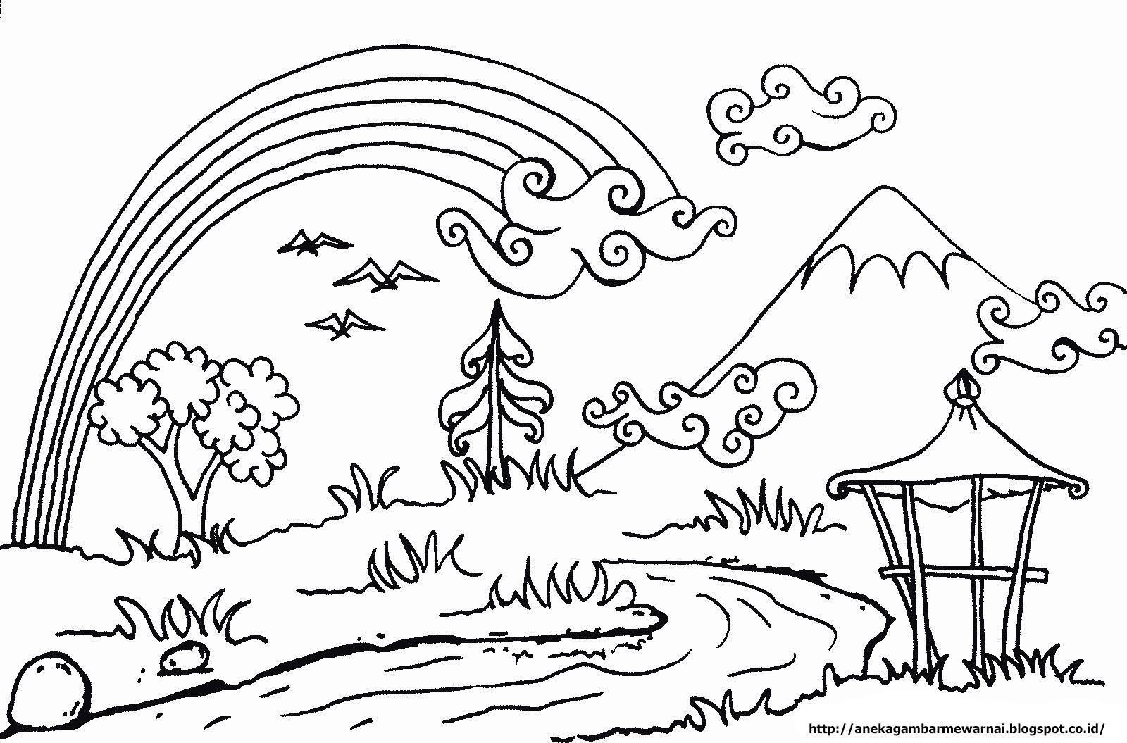 Aneka Gambar Mewarnai Gambar Mewarnai Pemandangan Langit Cerah Untuk Anak PAUD dan TK 2