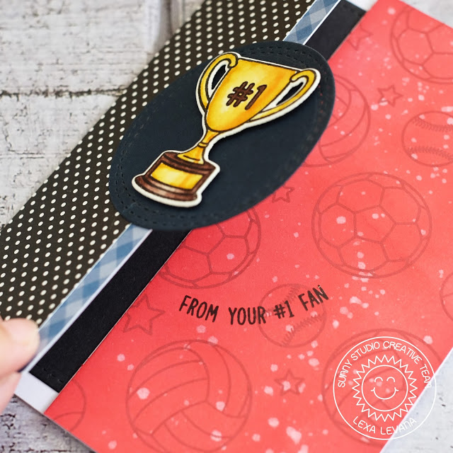 Sunny Studio Stamps: Team Player Number One Fan Tri-Fold Sports Themed Card by Lexa Levana