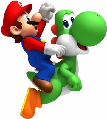 Dibujo de Mario Bros montando a su dragón Yoshi