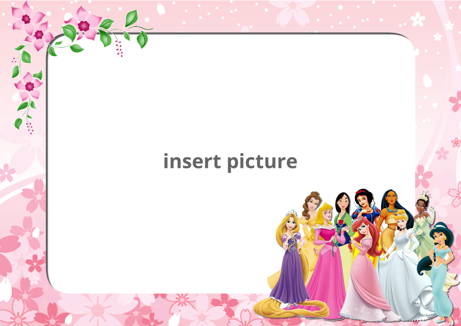 Disney Princess Floral PNG Frame - Printable PNG Frames | Cartoon ...