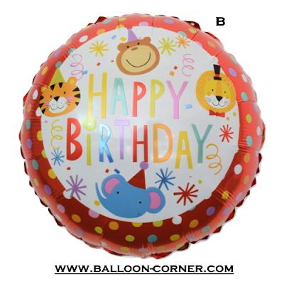 Balon Foil Bulat HAPPY BIRTHDAY Motif Animal
