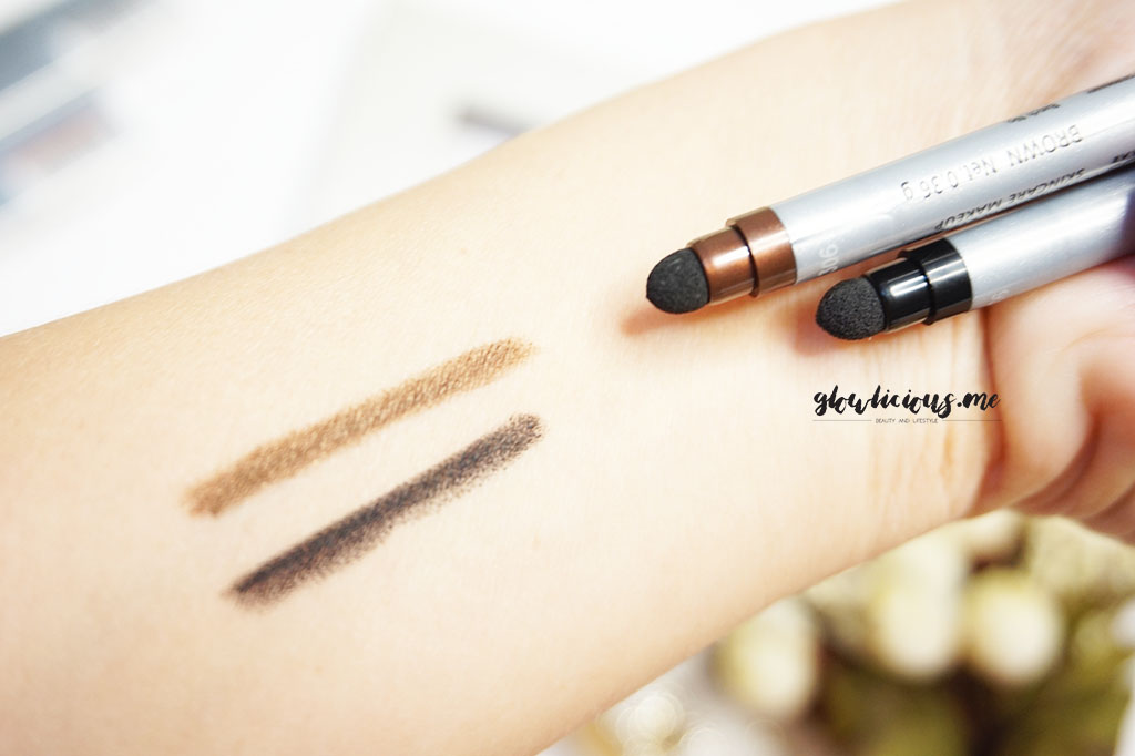 Swatches Caring By Biokos Automatic Eyeliner in Brown & Black