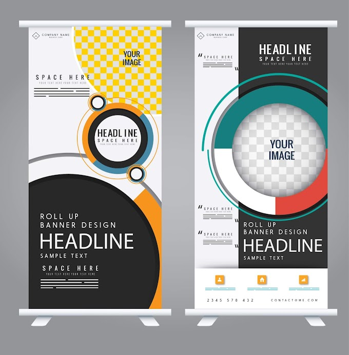 Standee banner templates modern colorful decor Free vector