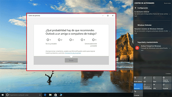 Centro de Opiniones de Windows 10.