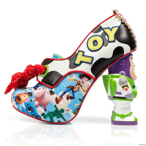 side view of Toy Story print shoe boot withred bandana lace and Buzz lightyear heel with TOY applique lettering in yellow