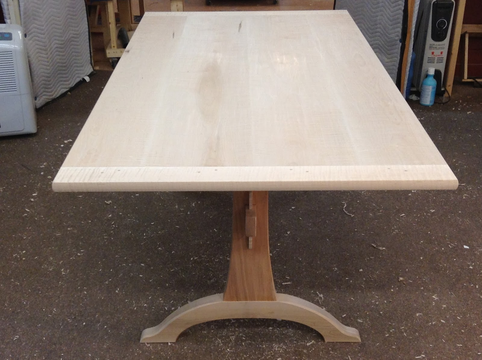 trestle table ready for finish tiger maple cherry mahogany walnut
