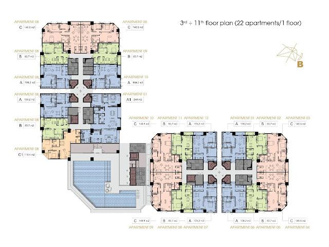 Mặt bằng tầng 3 - 11 chung cư D'. Le Roi Soleil