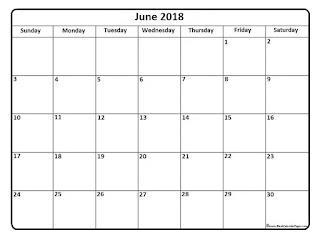 Free Printable Calendar June 2018