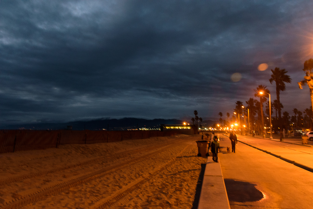 venice beach and santa monica pier at night los angeles california