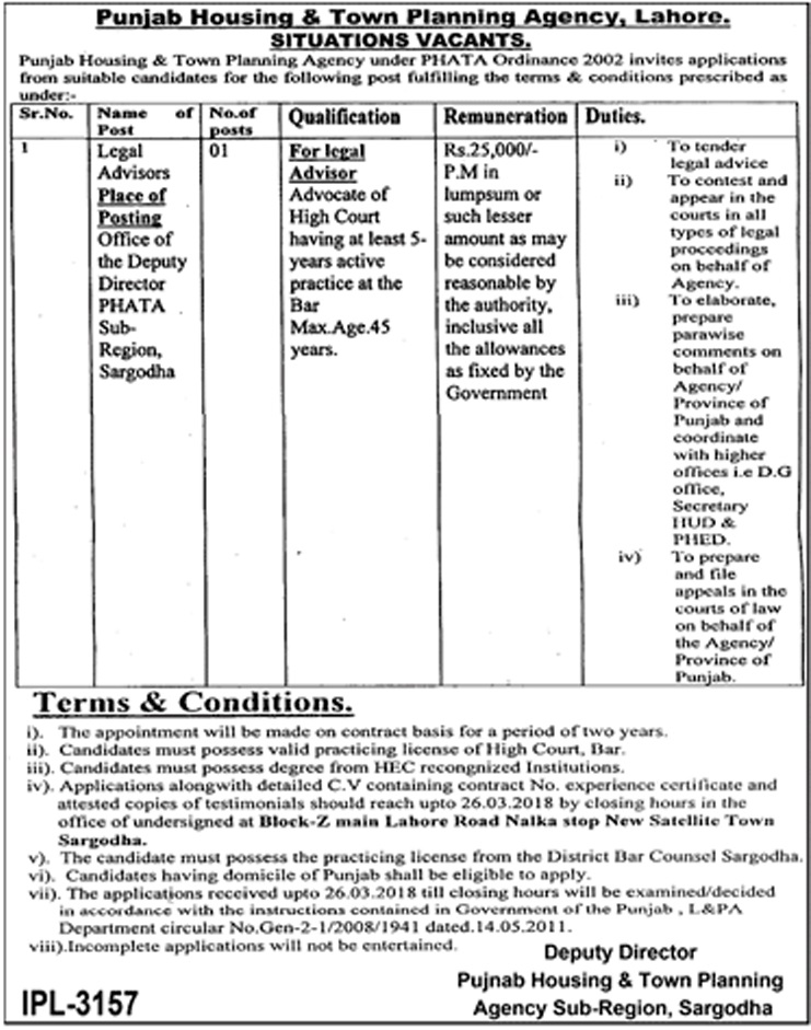 Legal Advisor Jobs in Punjab Housing and Town Planning Agency 12 March 2018
