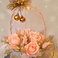 конфетный новогодний букет корзина с розами мастер класс с фото