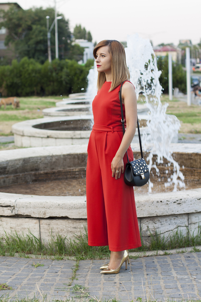 the coral red jumpsuit