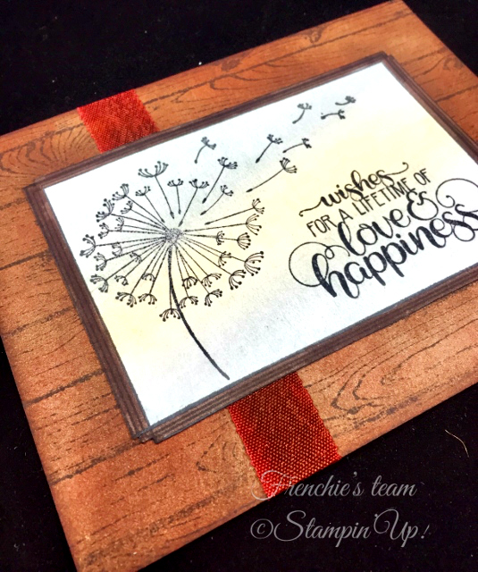 Card, Dandelion Wishes, Swirly Frames, Wood Textures