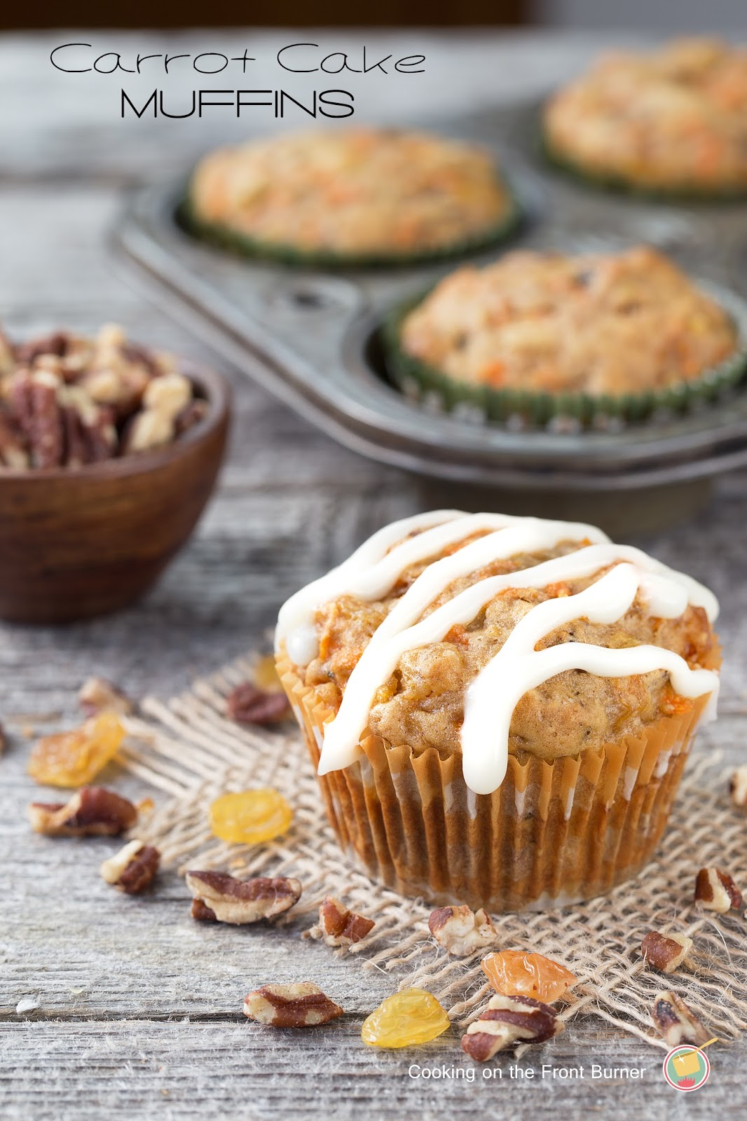 Carrot Cake Muffins with Crem Cheese Glaze